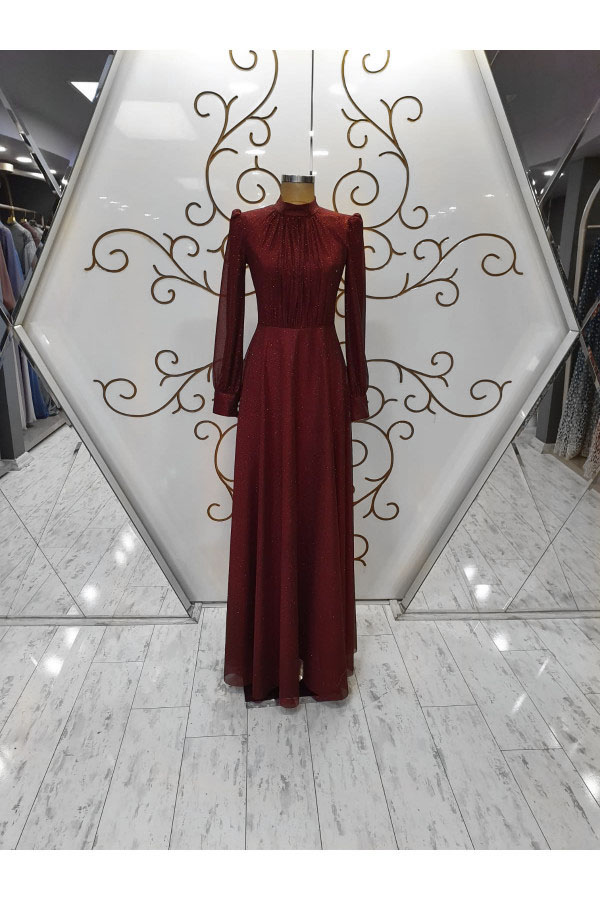 Zarif Silvery Evening Dress Claret Red