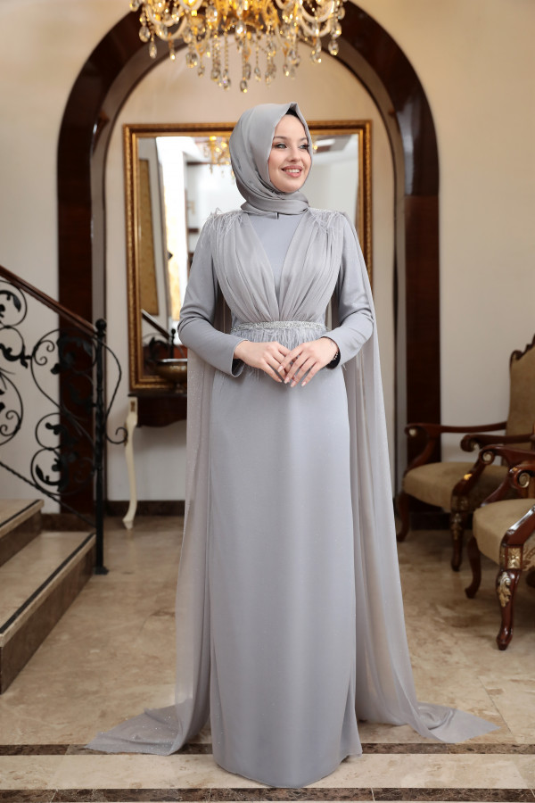 Mahya Silvery Evening Dress Grey