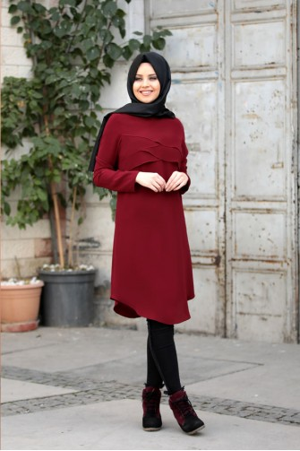 Pelerin Tunic Claret Red