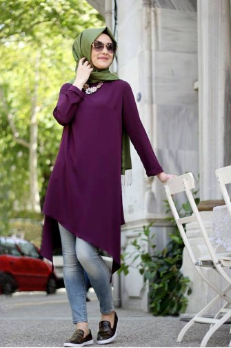Asimetric Tunic Plum
