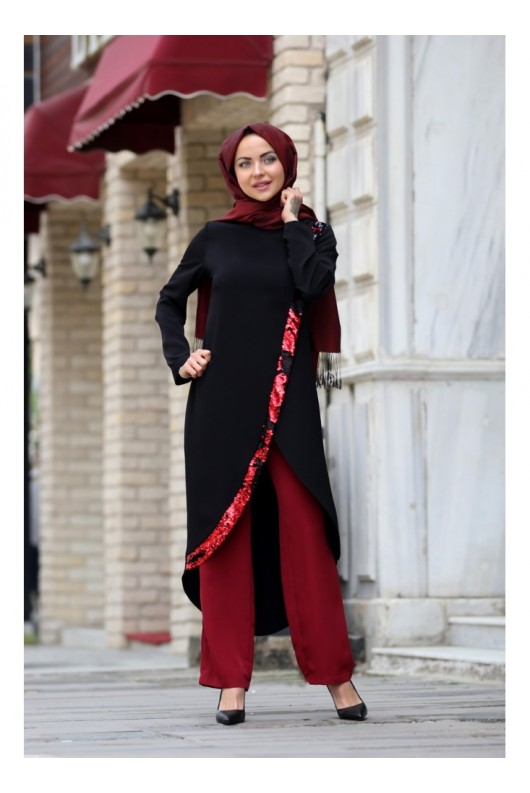 Hayal Suite Black Claret Red