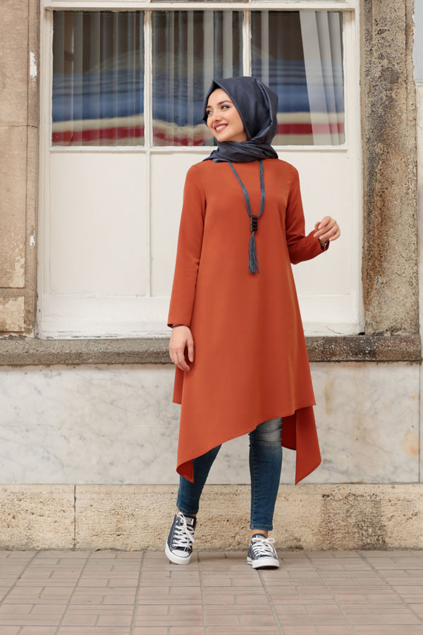 asimetric tunic cinnamon