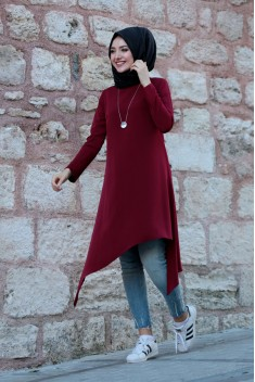 Asimetrik Tunik Bordo