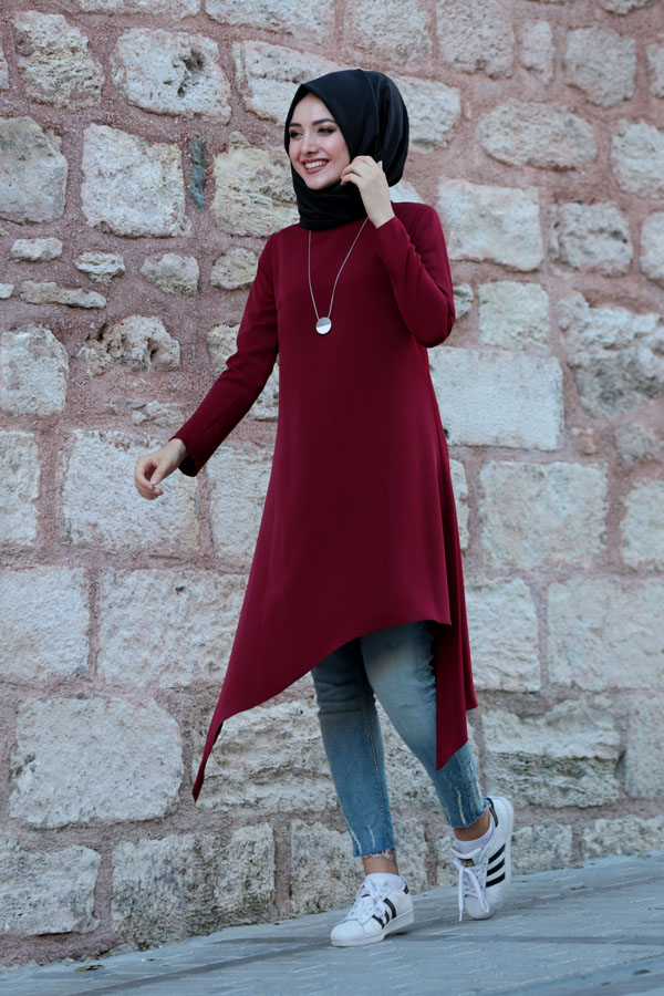 Asimatric Tunic Claret Red